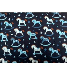 tissu coton chevaux à bascule